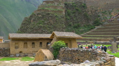 Inca archaeological site at Ruins Ollantaytambo near the city of Cusco - stock footage