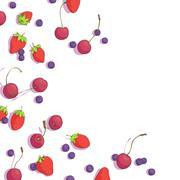 Cherries, blueberries and strawberries Stock Illustration