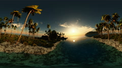 Panoramic of tropical beach at sunset. made with оne 360 degree lense on moving Stock Footage