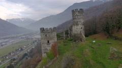 Albertville castle French Alps zoom out - stock footage