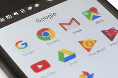 Google apps on Android phone Stock Photos