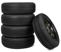 Front view photo of some tires. Isolated Stock Photos