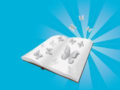 Butterflies cut out of book - stock illustration