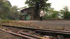Rural bengal street man walking Stock Footage