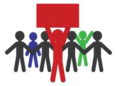 Paper People Protest Stock Illustration