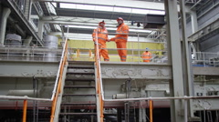 4K Group of engineering managers meet & shake hands in power station Stock Footage