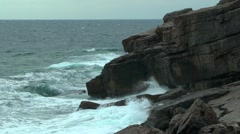 Waves breaking on the rocky cape. Stock Footage