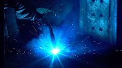 Work produces metal welding - stock footage