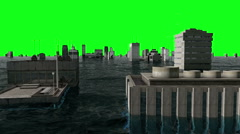 Apocalyptic water view. urban flood. Storm. Green screen footage - stock footage