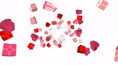 Flying valentines day gift boxes - seamless loop, overlay, alpha channel - stock footage