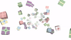 Flying gift boxes (pastel color)- seamless loop, overlay, alpha channel - stock footage