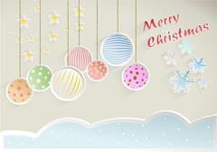 Christmas wish with decorations and snowflakes on beige background - stock illustration