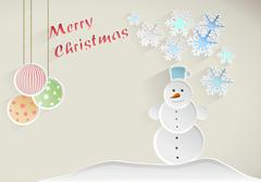 Christmas wish with snowman, decorations and snowflakes on beige background - stock illustration