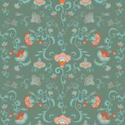 Oriental flowers pattern, floral ornament in green hues - stock illustration