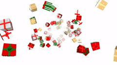 Flying Christmas gift boxes - seamless loop, overlay, alpha channel - stock footage