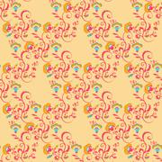 Seamless Victorian floral pattern in orange colors Stock Illustration
