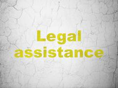 Law concept: Legal Assistance on wall background - stock illustration