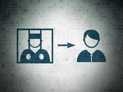 Law concept: Criminal Freed on Digital Data Paper background - stock illustration