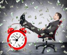 Time is money concept with businessman - stock photo