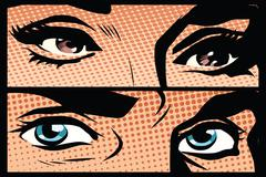 Male and female eyes close-up pop art retro - stock illustration