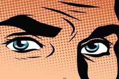 Retro male blue eyes pop art - stock illustration