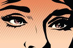 Brown eyes retro woman pop art - stock illustration