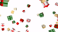 Falling Christmas gift boxes - seamless loop, overlay, alpha channel - stock footage