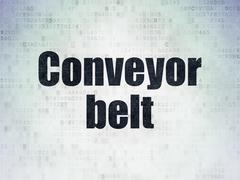 Manufacuring concept: Conveyor Belt on Digital Data Paper background - stock illustration