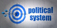 Political concept: target and Political System on wall background - stock illustration