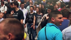 4k Crowd of people at 83rd Traditional Agricultural fair in Novi Sad, Serbia - stock footage