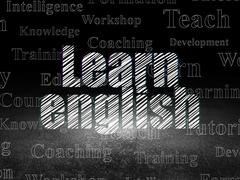 Learning concept: Learn English in grunge dark room - stock illustration