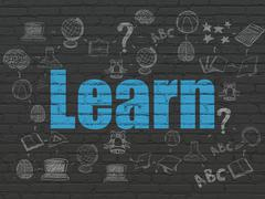 Learning concept: Learn on wall background - stock illustration