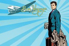 Male passenger traveler in the airport - stock illustration