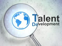 Studying concept: Globe and Talent Development with optical glass Stock Illustration