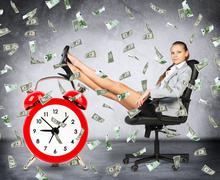 Time is money concept with businesswoman - stock photo