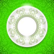 Ceramic Ornamental  Plate  on Green Background. - stock illustration