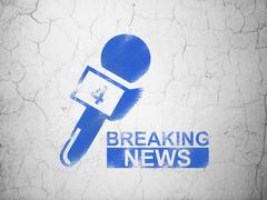 News concept: Breaking News And Microphone on wall background - stock illustration