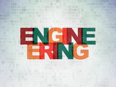 Science concept: Engineering on Digital Data Paper background - stock illustration
