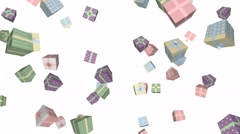 Gift boxes in motion (pastel color) - seamless loop, overlay, alpha channel - stock footage