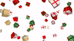 Christmas gift boxes in motion - seamless loop, overlay, alpha channel - stock footage