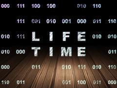 Timeline concept: Life Time in grunge dark room - stock illustration