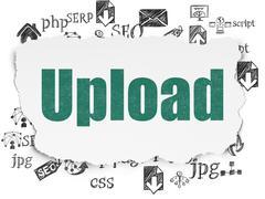Web design concept: Upload on Torn Paper background - stock illustration
