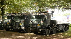 Dutch Military Trucks on Exhibition  - The Hague Netherlands Stock Footage