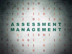 Finance concept: Assessment Management on Digital Data Paper background - stock illustration