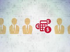 Finance concept: calculator icon on Digital Data Paper background - stock illustration