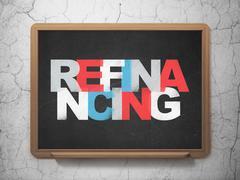 Finance concept: Refinancing on School board background - stock illustration