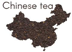 Chinese map shape made of  black tea leaves - stock illustration