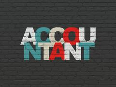 Banking concept: Accountant on wall background - stock illustration