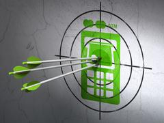Banking concept: arrows in ATM Machine target on wall background - stock illustration