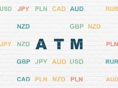 Banking concept: ATM on wall background - stock illustration